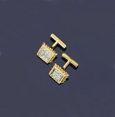 A pair of diamond-set cufflink
