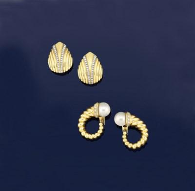 Two pairs of diamond set earri