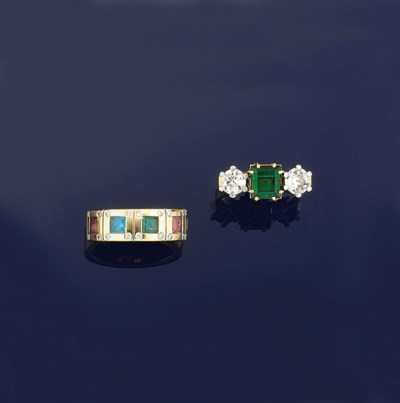 Two diamond and gem rings
