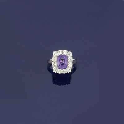 A purple sapphire and diamond