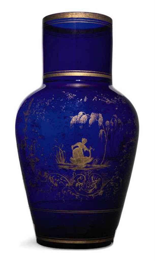 A VICTORIAN BLUE GLASS VASE