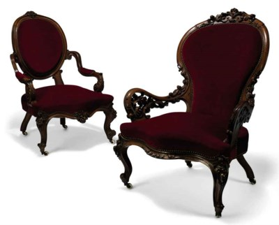 TWO MID-VICTORIAN CARVED WALNU