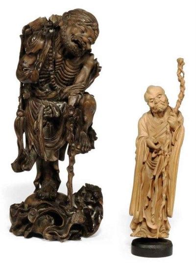 TWO CHINESE WOOD FIGURES