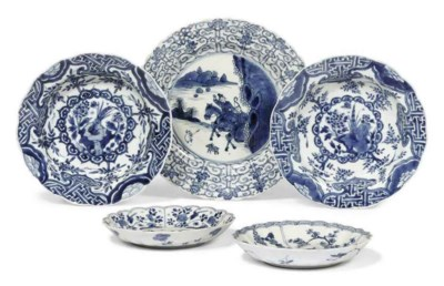 FIVE CHINESE BLUE AND WHITE FO