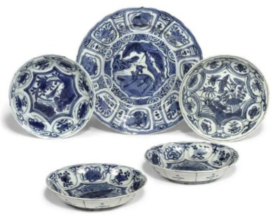 FIVE CHINESE BLUE AND WHITE KR