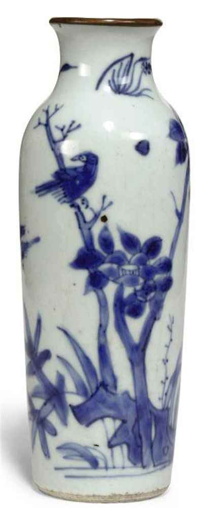 a chinese blue and white sleeve vase transitional period circa
