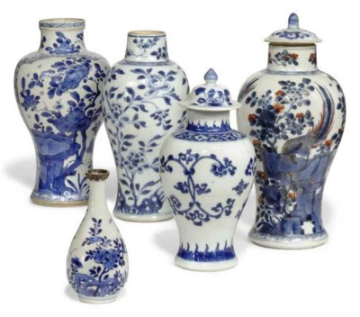 FIVE VARIOUS CHINESE VASES