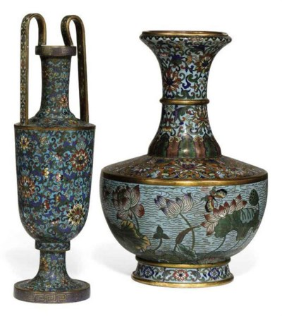 TWO CHINESE CLOISONNÉ ENAMEL V