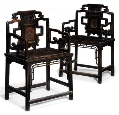 A PAIR OF CHINESE HARDWOOD OPE