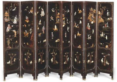 A CHINESE GILT LACQUER EIGHT-L