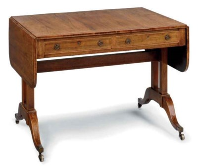 A REGENCY ROSEWOOD AND BURR-YE