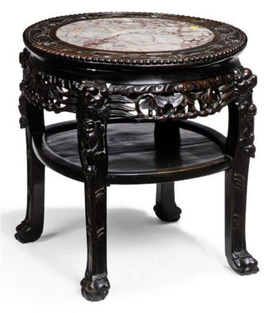 A CHINESE CARVED HARDWOOD LOW