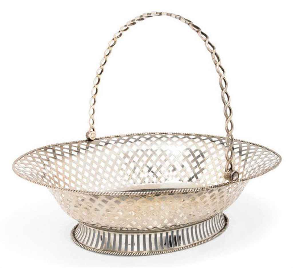 A GEORGE III SILVER SWING-HANDLED OVAL CAKE BASKET