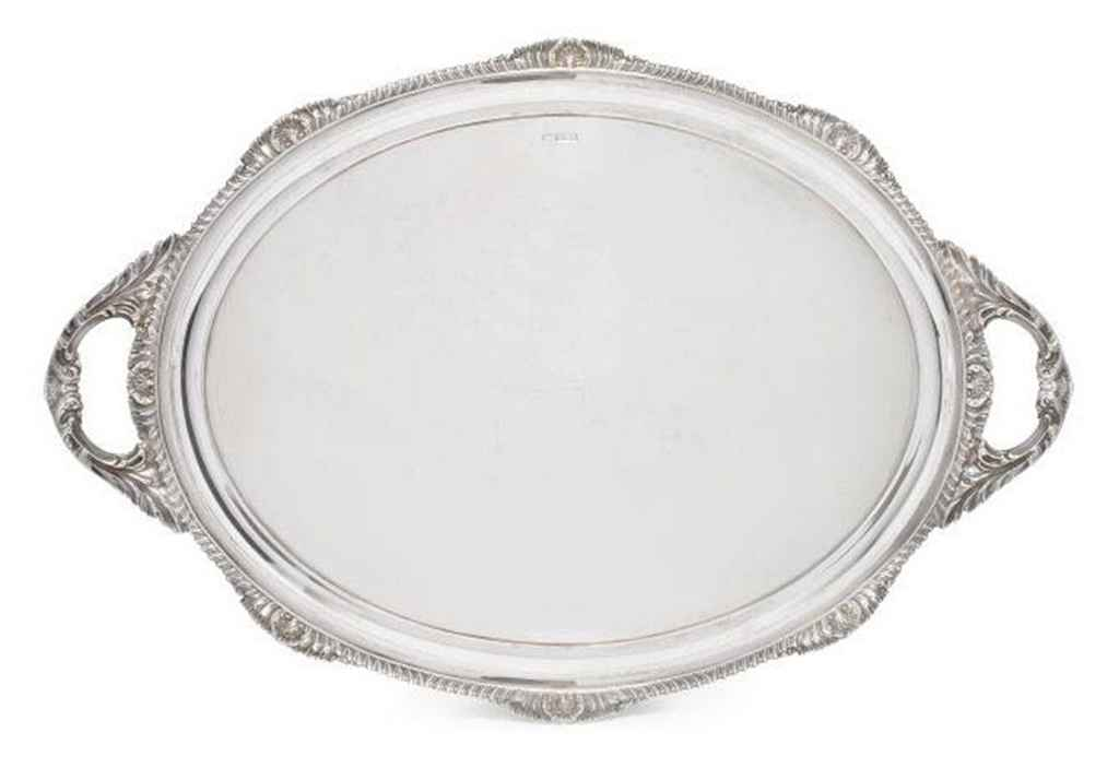 AN EDWARDIAN SILVER OVAL TWO HANDLED TRAY