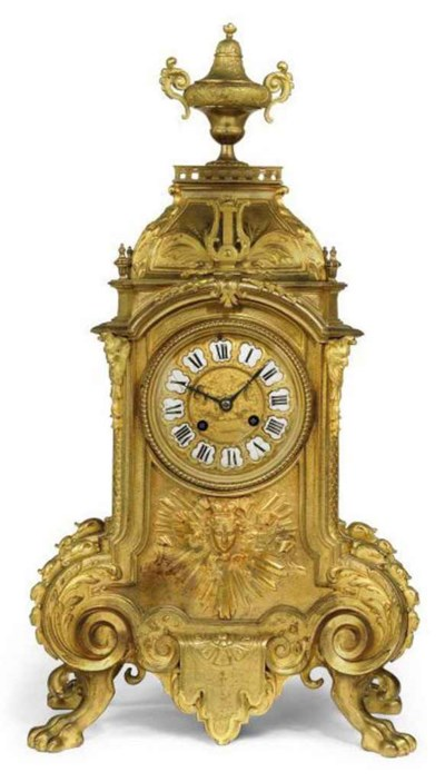 A FRENCH GILT BRONZE MANTEL CL