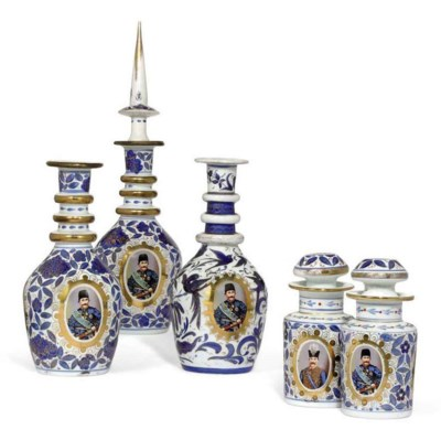A PAIR OF BOHEMIAN GLASS DECAN
