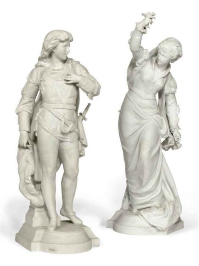 TWO FRENCH BISQUE MODELS OF A