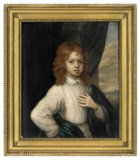 Portrait of a young boy, half-length, in a white shirt and blue wrap