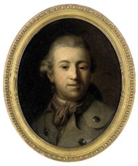 Portrait of a gentleman, bust-length, in a grey coat and brown scarf