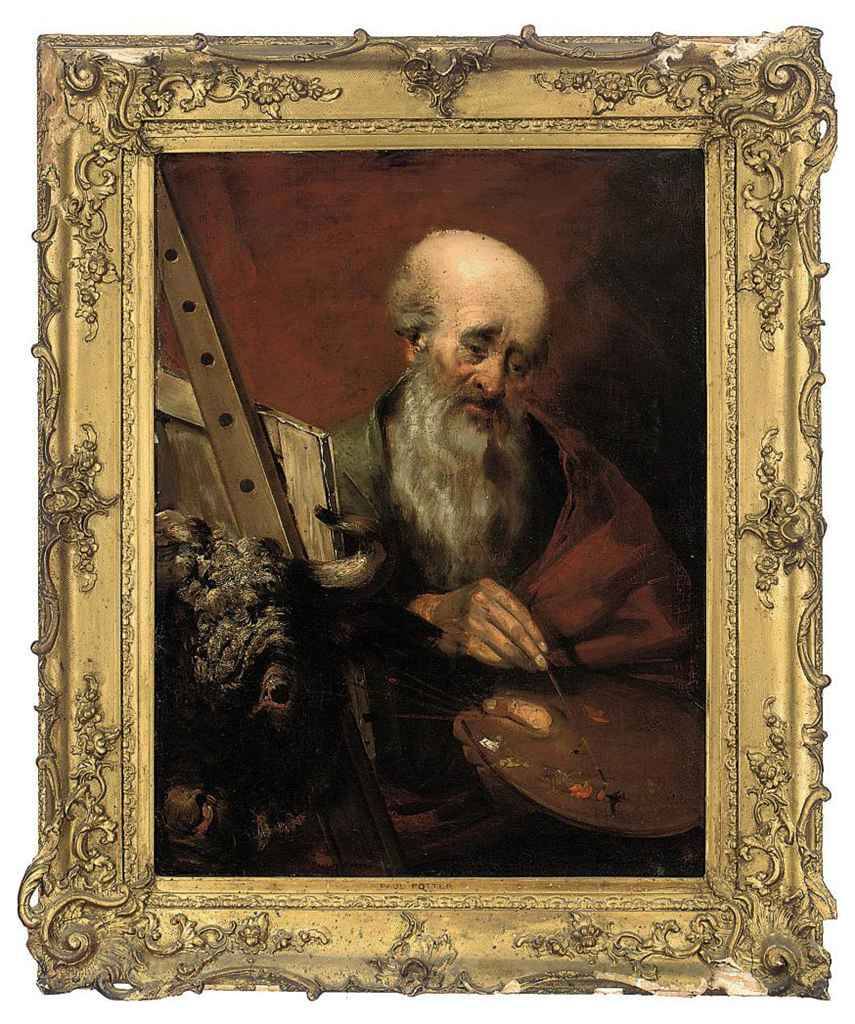 Saint Luke painting at his easel