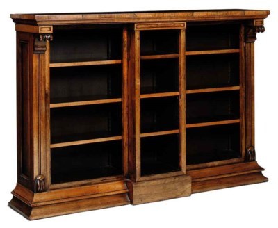 A ROSEWOOD OPEN BOOKCASE