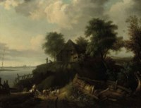 A river landscape with a herder on a horse and cattle on a track, figures by a cottage beyond