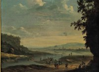 Figures by a ferry in an extensive river landscape