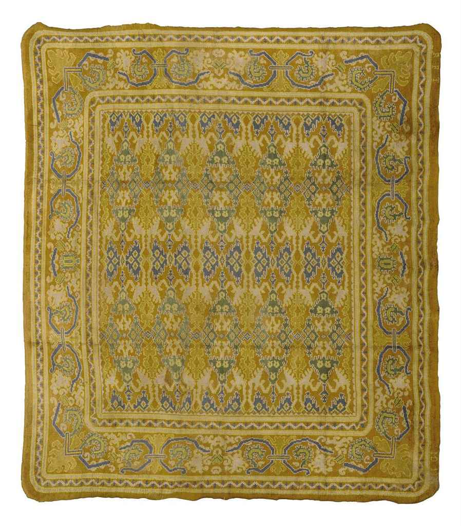 A SPANISH CUENCA STYLE CARPET , SIGNED, R F T, DATED