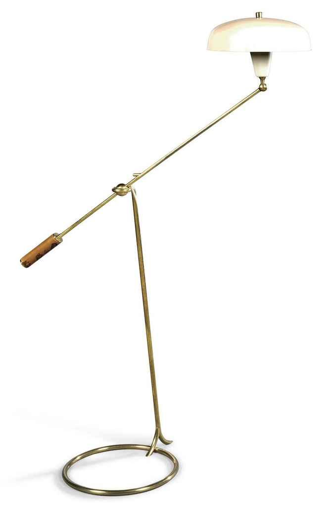 AN ANGELO LELI BRASS AND ENAMELLED METAL FLOOR LAMP