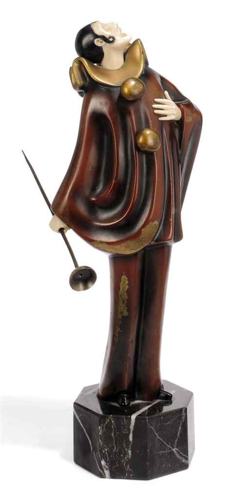 'PAGLIACCI'. A COLD-PAINTED BRONZE AND IVORY FIGURE BY ROLAND PARIS