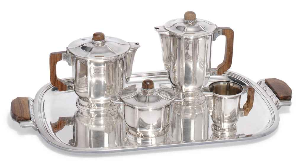 A FRENCH ERCUIS SILVER-PLATED AND ROSEWOOD ART DECO TEA & COFFEE SERVICE
