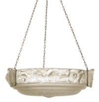 A SABINO FROSTED AND MOULDED GLASS GLASS HANGING SHADE