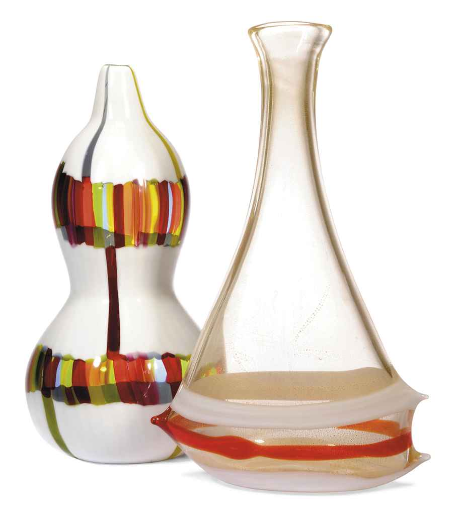 AN ANZOLA FUGA INTERNALLY DECORATED AND APPLIED GLASS VASE FOR A.V.E.M.