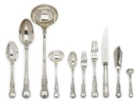 A VICTORIAN SILVER HALF TABLE SERVICE OF COBURG PATTERN FLATWARE