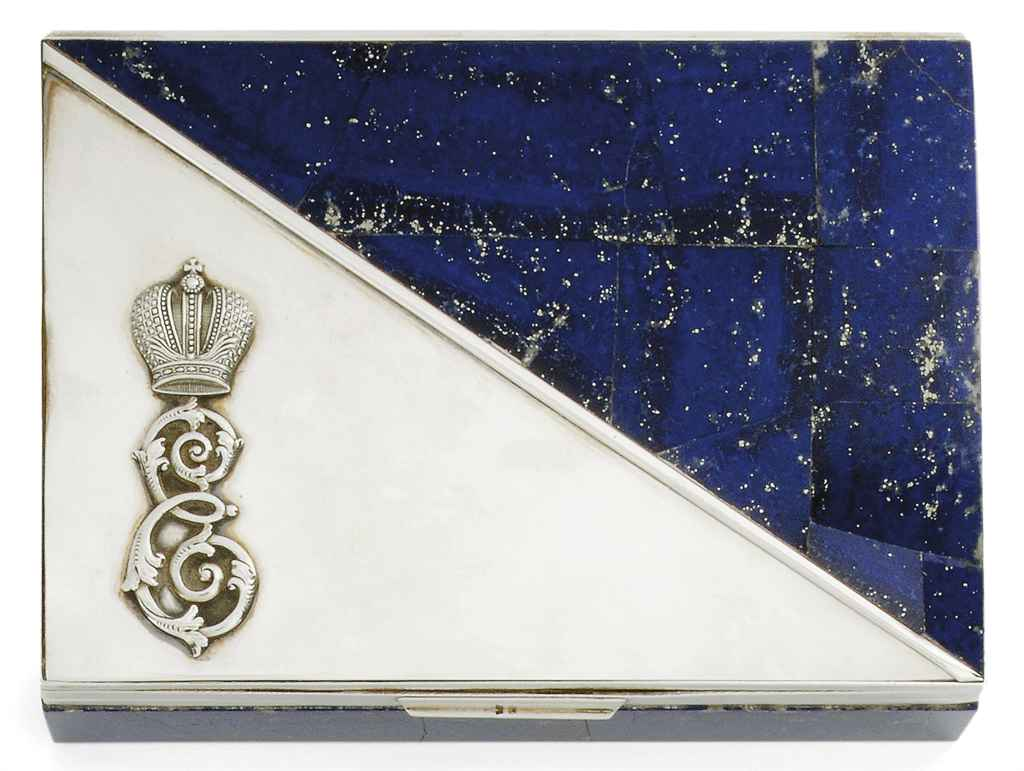 IMPERIAL RUSSIAN INTEREST: A WHITE MARBLE AND LAPIS LAZULI SILVER-MOUNTED CIGARETTE BOX