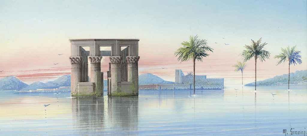 An Egyptian lake temple