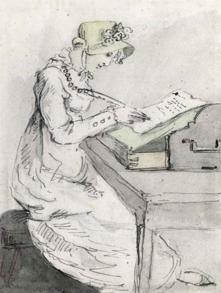 A young lady seated at her desk writing