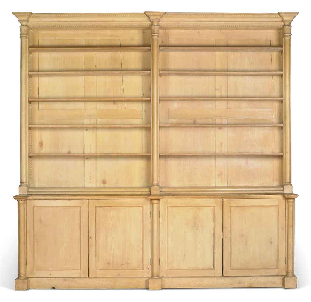 A LARGE PINE BOOKCASE