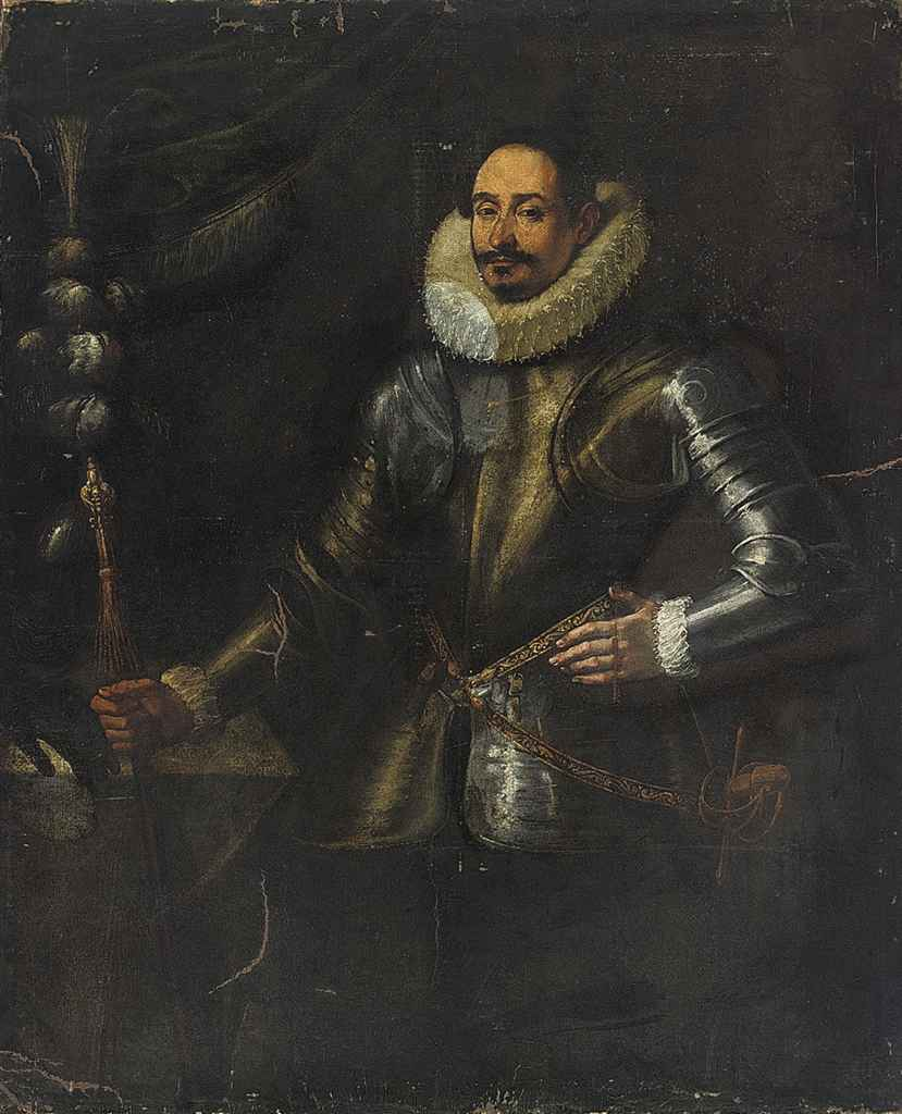 Portrait of a gentleman, three-quarter-length, in armour, a baton in his right hand, beside a table with a plumed helmet
