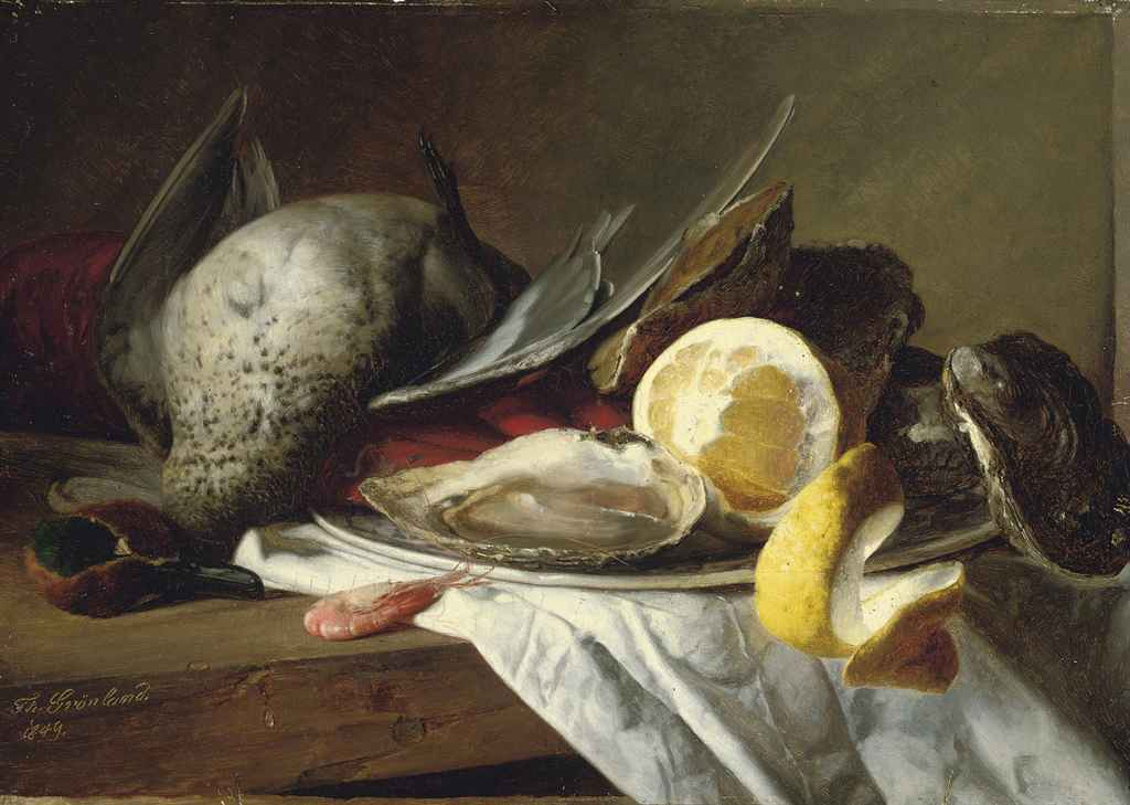 Still life of a duck, a shrimp and a plate of oysters