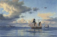 A paddlesteamer, a coastal trader and other shipping in the Sound off Kronborg Castle, Elsinore, Denmark