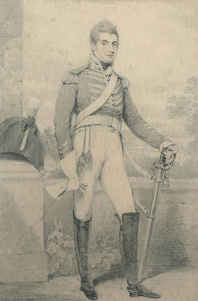 Portrait of Sir Southerton Branthwayt Peckham Mickelthwaite, Bt., small full-length, standing by a pillar, in the uniform of the 3rd Dragoon Guards, his country house beyond