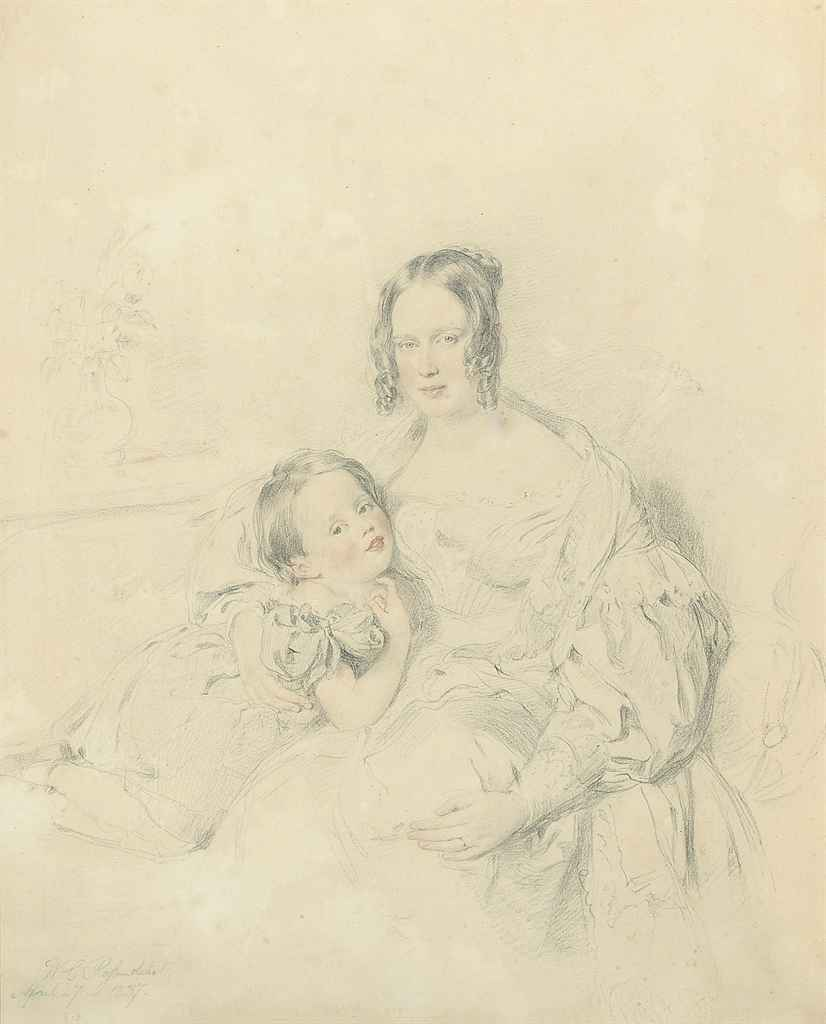 A double portrait of a woman and child (illustrated); Portrait of a female nude, half-length, her right arm outstretched; and Portrait of a woman, bust-length, facing right