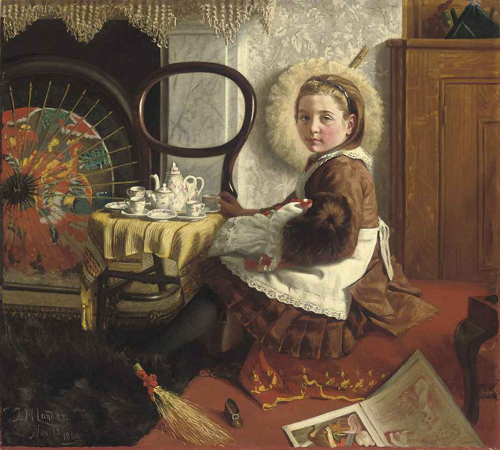 Portrait of Elsie Esther Cornish, aged 7, seated at a table with her doll and tea set