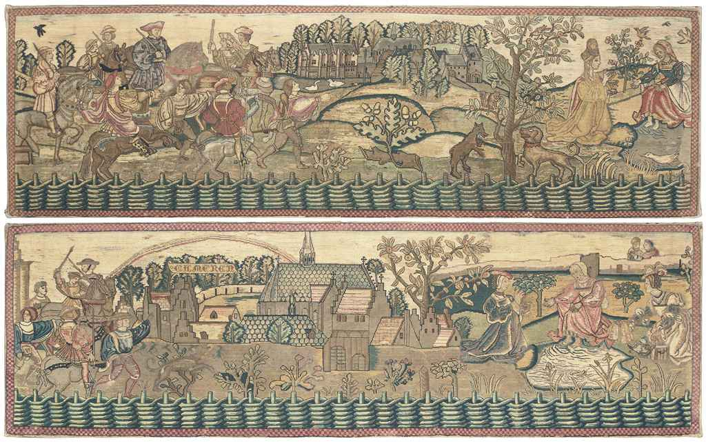 A PAIR OF EMBROIDERED VALANCES