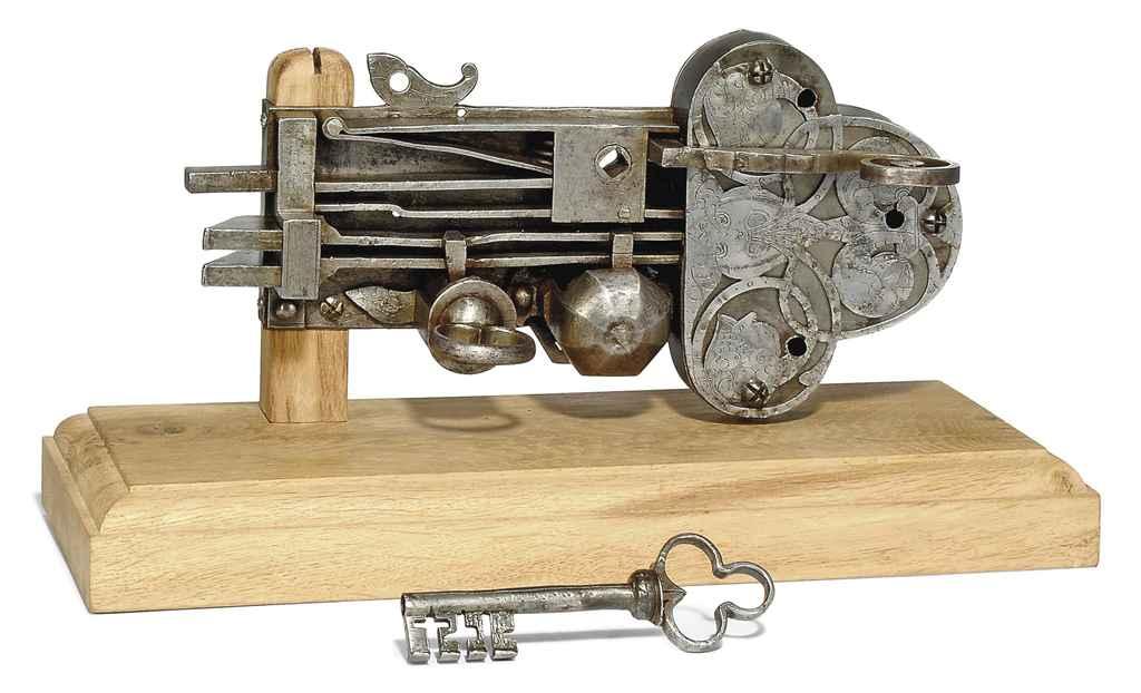 A GERMAN ENGRAVED STEEL LOCK
