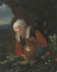 A woman with a jug at a casement