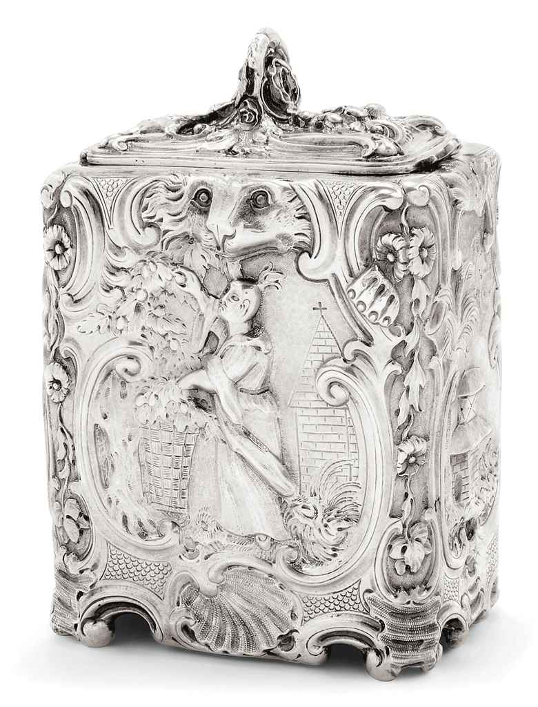 A VICTORIAN SILVER CHINOISERIE TEA CADDY