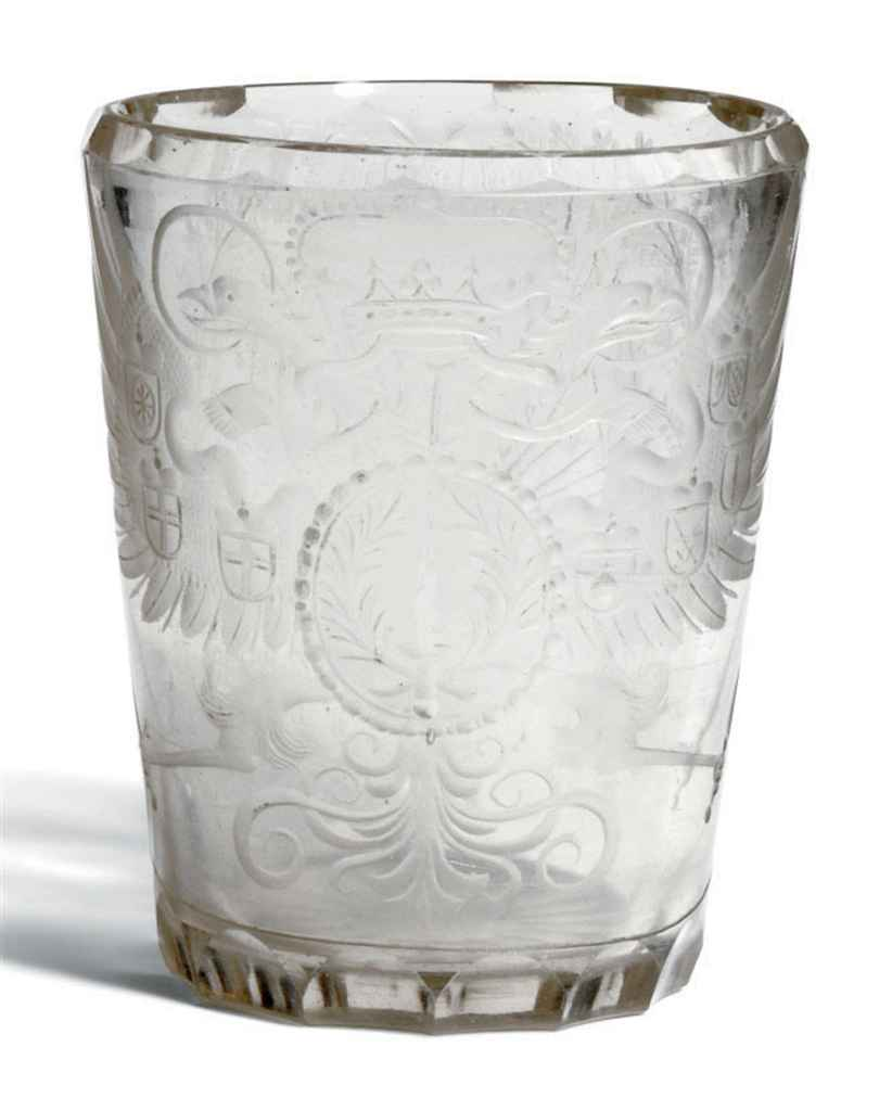 AN ENGRAVED GLASS ARMORIAL BEA