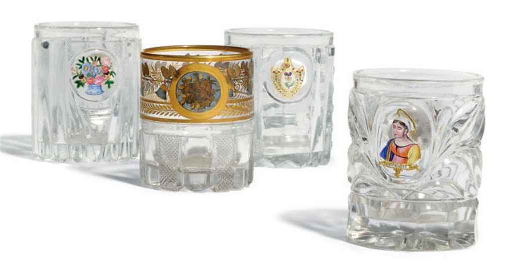 FOUR CUT AND MOULDED GLASS BEA